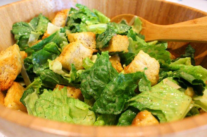 Classic Caesar Salad in a Wooden Salad Bowl.  Dear Martini