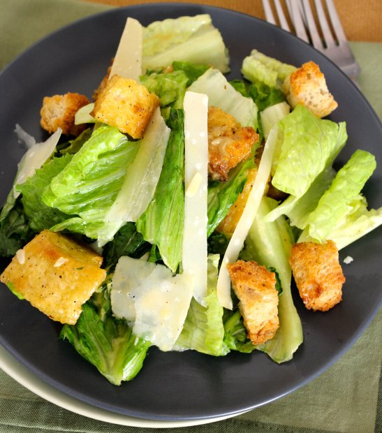 Classic Caesar Salad with Homemade Croutons and Shaved Parmigiano-Reggiano.  Dear Martini