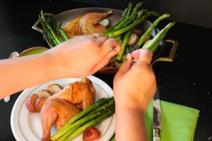 Roast Chicken Dinner via Dear Martini blog
