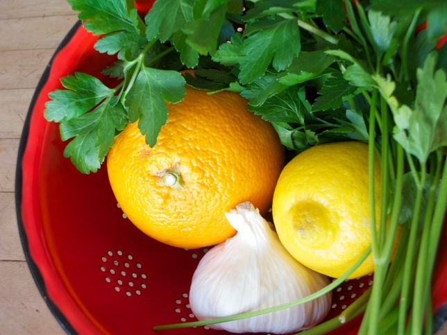 Lemon zest, parsley and garlic are the classic gremolata ingredients   via Dear Martini blog